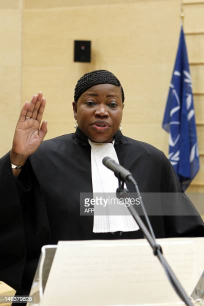 Gambian war crimes lawyer Fatou Bensouda takes the oath during a swearingin ceremony as the International Criminal Court's new chief prosecutor in...