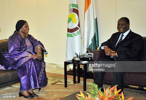 Gambianborn Fatou Bensouda the new chief prosecutor of the International Criminal Court meets on April 3 2012 at the presidential palace in Abidjan...