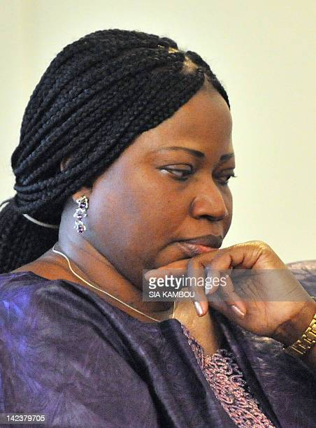 Gambianborn Fatou Bensouda the new chief prosecutor of the International Criminal Court waits on April 3 2012 at the presidential palace in Abidjan...