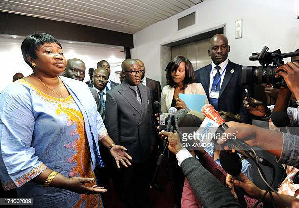 Gambia's Fatou Bensouda prosecutor for the International Criminal Court gives a press point on July 19 2013 after her meeting with Ivorian Justice...