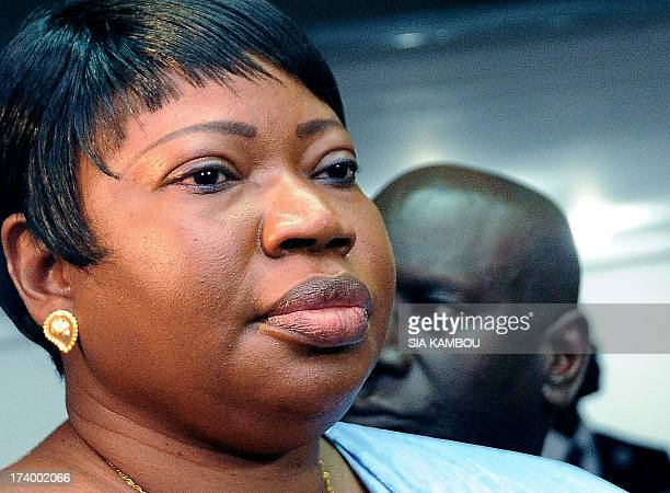 Gambia's Fatou Bensouda prosecutor for the International Criminal Court gives a press point on July 19 2013 after her meeting with Ivory Coast's...