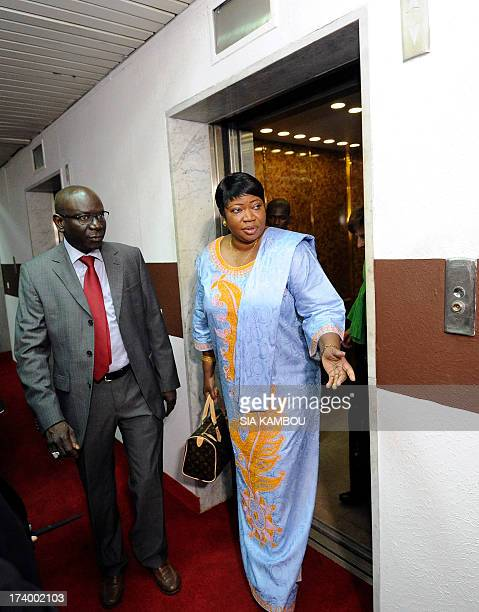 Gambia's Fatou Bensouda prosecutor for the International Criminal Court arrives on July 19 2013 for a meeting with Ivory Coast's Justice minister in...
