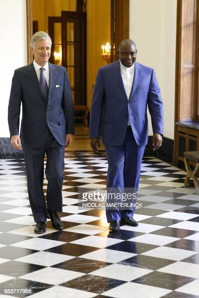 Gambia's new President Adama Barrow and King Philippe of Belgium are pictured within their meeting at the Royal Palace in Brussels on March 16, 2017....