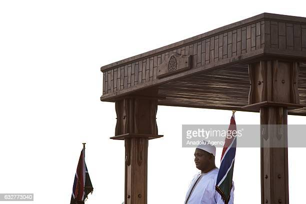 Gambia's presidentelect Adama Barrow arrives his country from Senegal after the departure of former president of Gambia Yahya Jammeh following the...