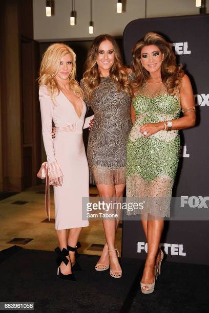 Gamble Breaux Jackie Gillies and Gina Liano during the Real Housewives Of Melbourne Season 4 Media Call at Grand Hyatt Melbourne on May 17 2017 in...