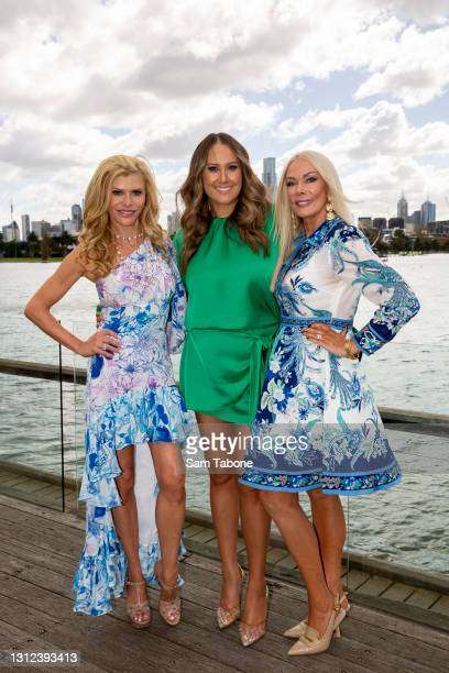 Gamble Breaux , Jackie Gillies and Janet Roach attends the cast announcement for The Real Housewives of Melbourne season 5 on April 14, 2021 in...