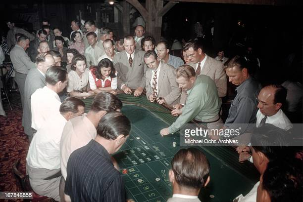 Gamblers play Craps at the El Rancho Vegas hotel and casino in July 1942 in Las Vegas Nevada