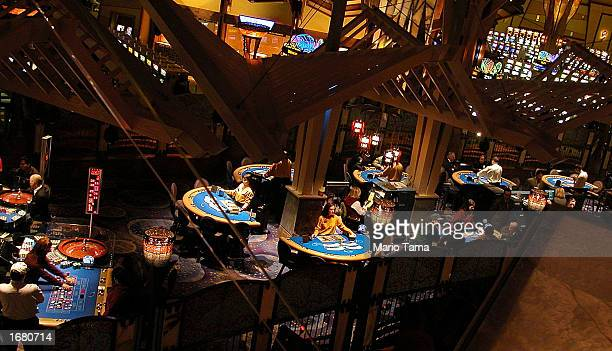 Gamblers play on tables at Mohegan Sun casino November 20 2002 in Uncasville Connecticut The casino is owned and operated by the Mohegan Tribe which...