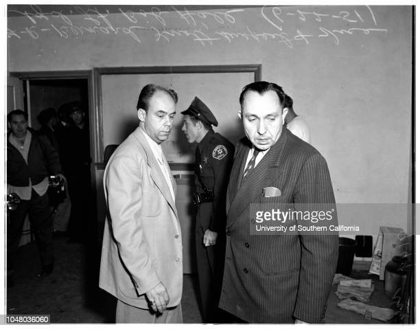 Gambling equipment confiscation -- Sheriff's El Monte, June 22, 1951. Bernard Knott ;Bob Hall ;General views of front of car finance company and...