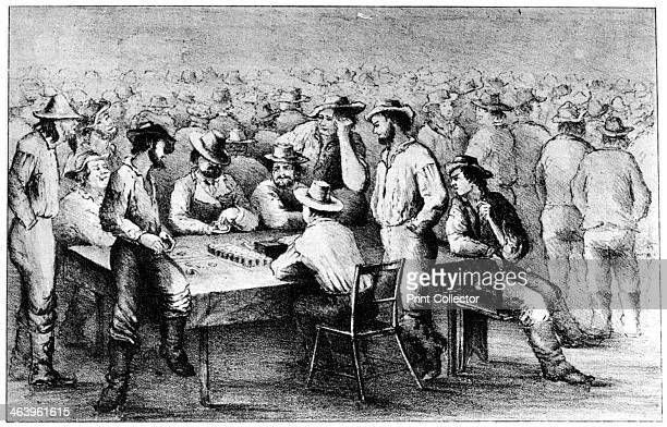 Gambling in the mines Monte California 19th century From Old California In Pictures and Story by Stewart Edward White and published by Doubleday...
