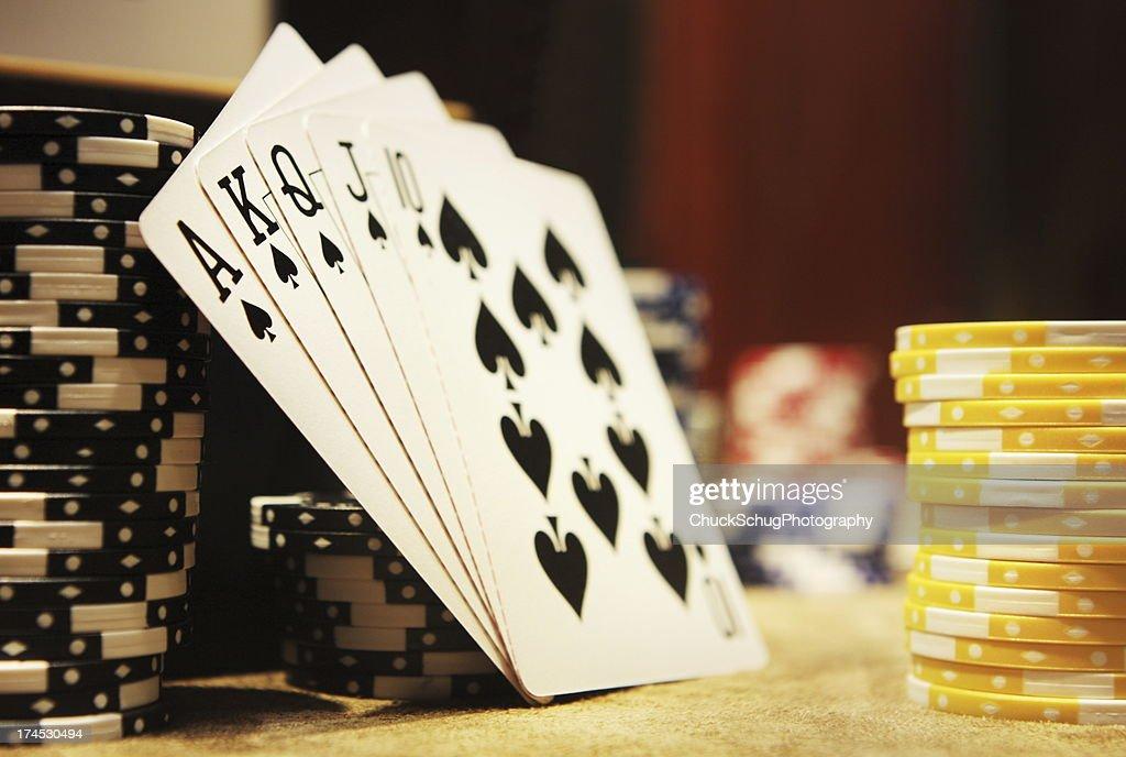 Gambling Poker Hand Royal Flush Spades : Stock Photo