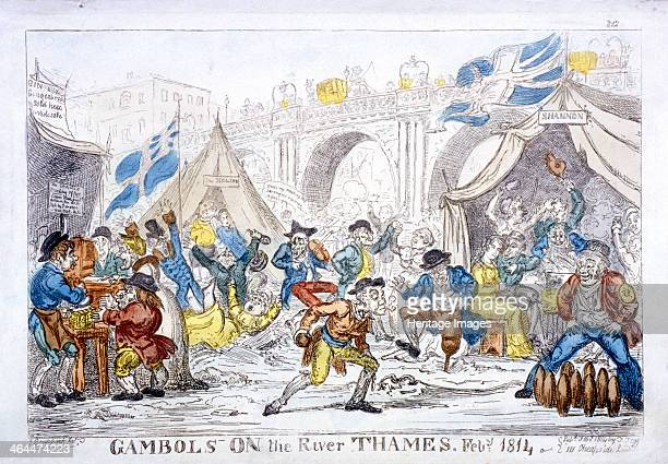 'Gambols on the River Thames, Feby, 1814', shows a frost fair in the region of Blackfriars Bridge, London. To the right a waterman watches another...