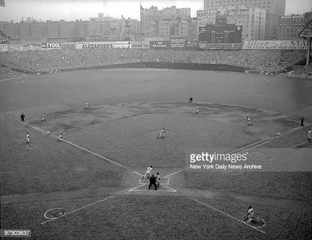 Game 4 of the 1950 World Series between the Philadelphia Phillies and the New York Yankees at Yankee Stadium The 2nd run of 1st inning is propelled...