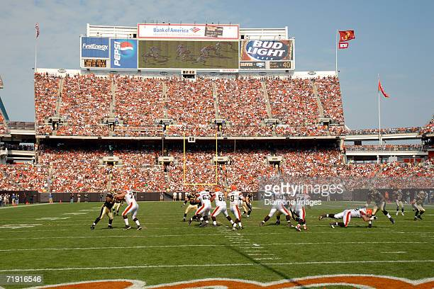 Game action during a game on September 10 2006 between the New Orleans Saints and the Cleveland Browns at Cleveland Browns Stadium in Cleveland Ohio...