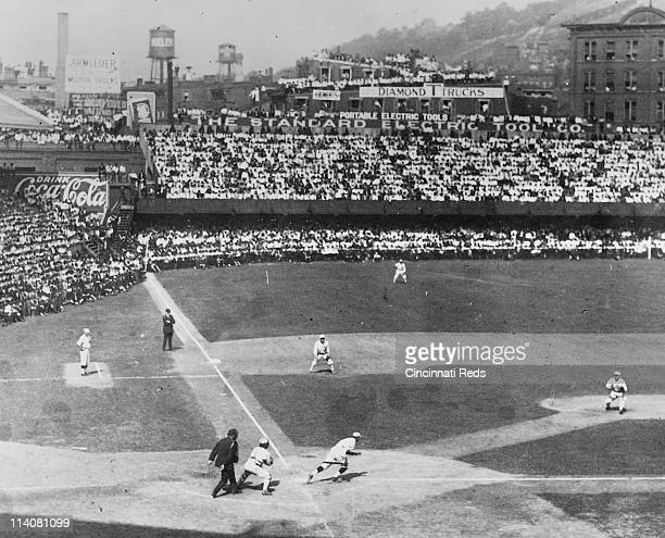 Game action during a World Series game between the Chicago White Sox and the Cincinnati Reds at Redland Field in Cincinnati Ohio in 1919