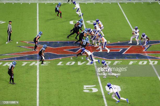 Game action in the third quarter between the Dallas Renegades and the St Louis Battlehawks at an XFL football game on February 09 2020 in Arlington...
