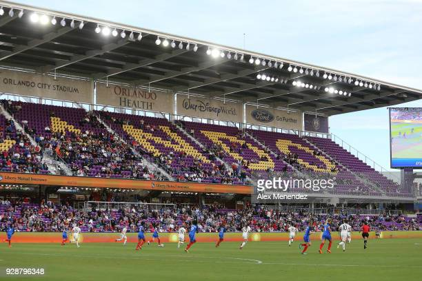 Game action is seen during the SheBelieves Cup soccer match between France and Germany at Orlando City Stadium on March 7 2018 in Orlando Florida