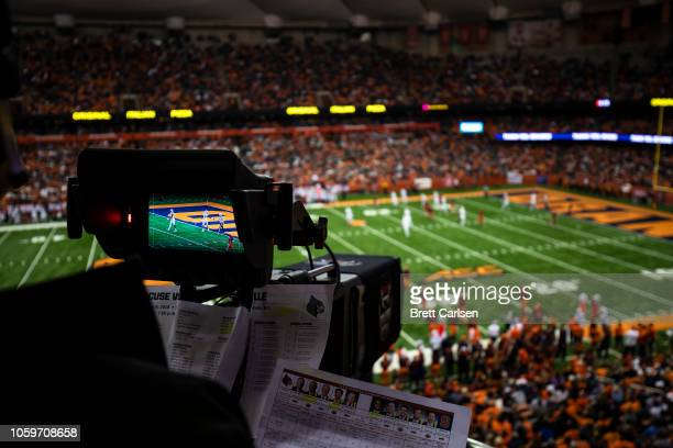 Game action is viewed through a television video camera during the second quarter between the Syracuse Orange and the Louisville Cardinals at the...
