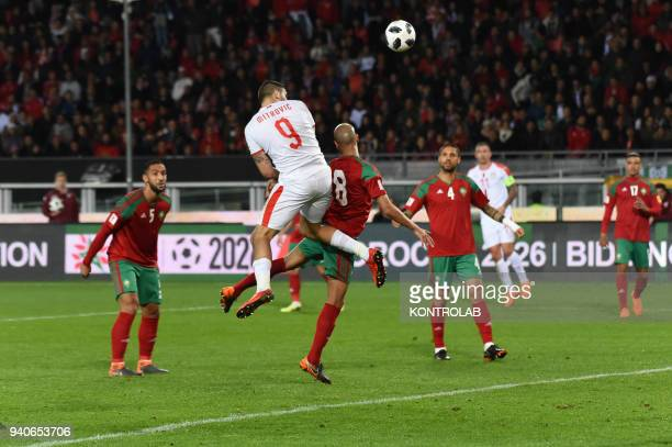 A game action of Aleksandar Mitrovic of Serbia during the friendly match between Morocco vs Serbia played in Turin Morocco won 21