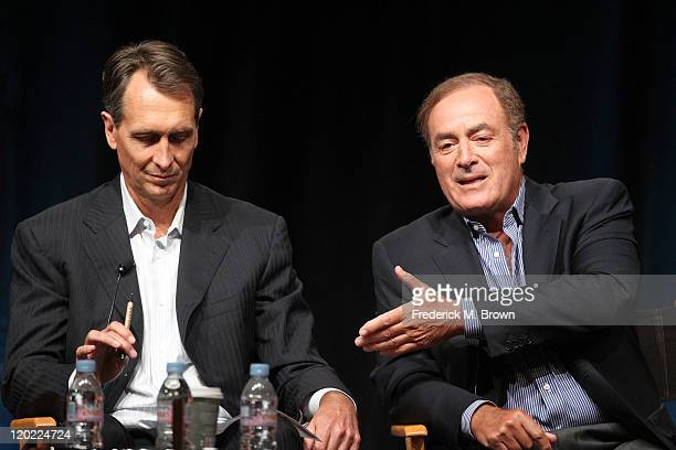 Game Analyst Chris Collinsworth and Al Michaels speak during the 'Sunday Night Football' and 'Super Bowl XLVI' panel during the NBC Universal portion...