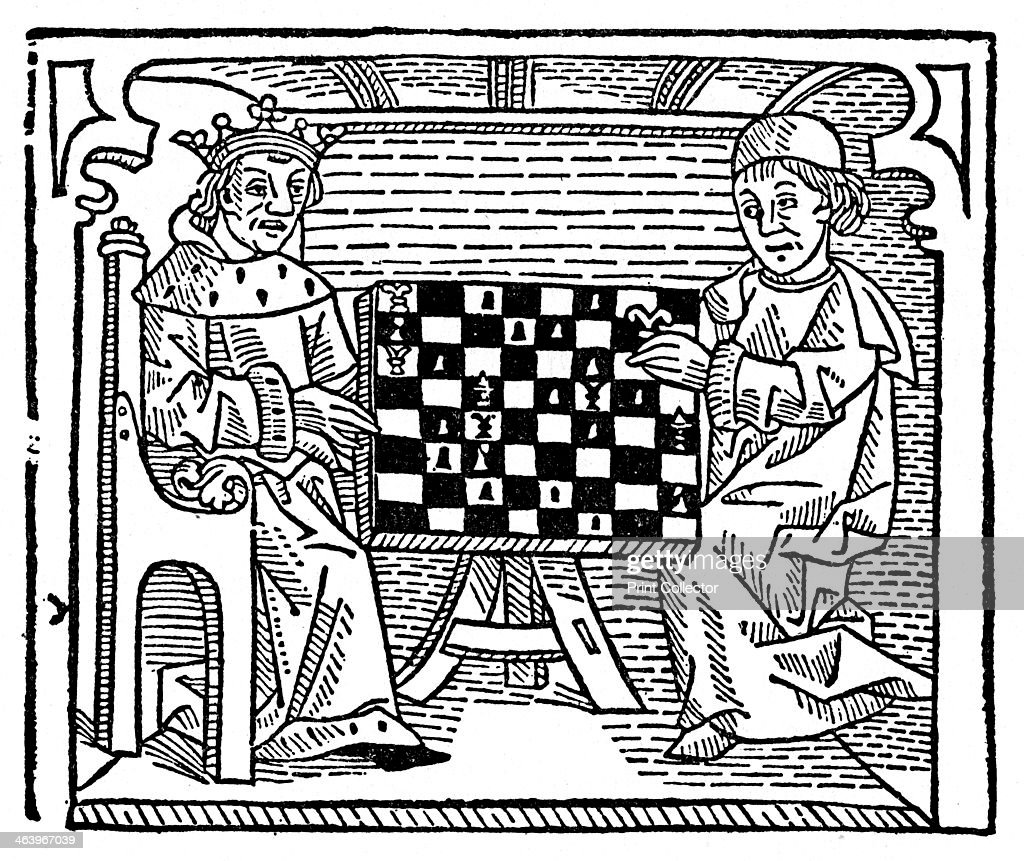 Game and play of chess, 1474 (1956). A print from Things, a volume about the origin and early history of many things, common and less common, essential and inessential, by Readers Union, the Grosvenor Press, London, 1956.