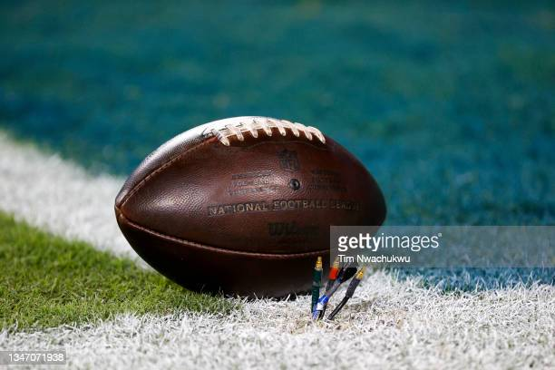 Game ball is seen before a game between the Philadelphia Eagles and the Tampa Bay Buccaneers at Lincoln Financial Field on October 14, 2021 in...