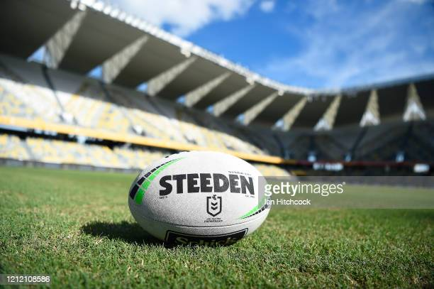 Game ball is seen before the start of the round 1 NRL match between the North Queensland Cowboys and the Brisbane Broncos at Queensland Country Bank...