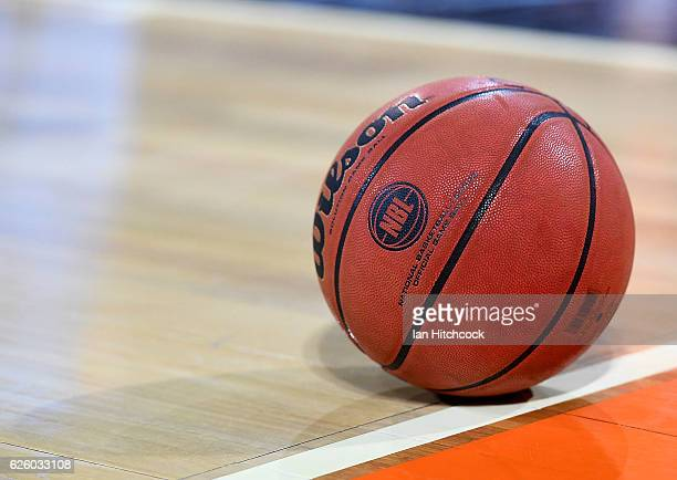 A game ball is seen on the court during the round eight NBL match between the Cairns Taipans and the New Zealand Breakers at Cairns Entertainment...