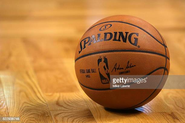 A game ball sits on the court in the first half of the game between the Boston Celtics and the Charlotte Hornets at TD Garden on April 11 2016 in...