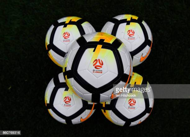 Game balls are seen on the field before the start of the during the round two ALeague match between the Brisbane Roar and Adelaide United at Suncorp...