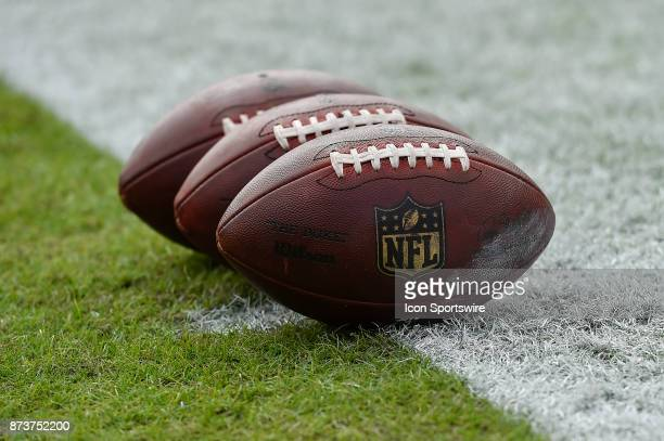 Game balls are set on the field prior to the start of an NFL game between the New York Jets and the Tampa Bay Buccaneers on November 12 at Raymond...