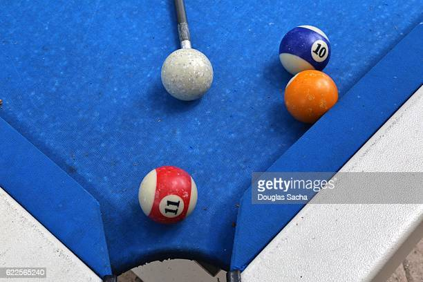 Game balls on a outdoor billiards table