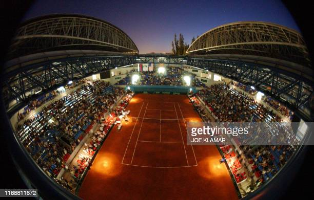 A game between Karol Kucera of Slovakia and Mardy Fish of USA interrupted due to main lights failure at the Slovak National Tennis Center built in...