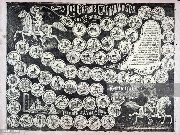 Game board for dice game of the cowboy smugglers shows Mexican cowboys in charro outfits on horseback lassoing the 64 spaces on the board The...