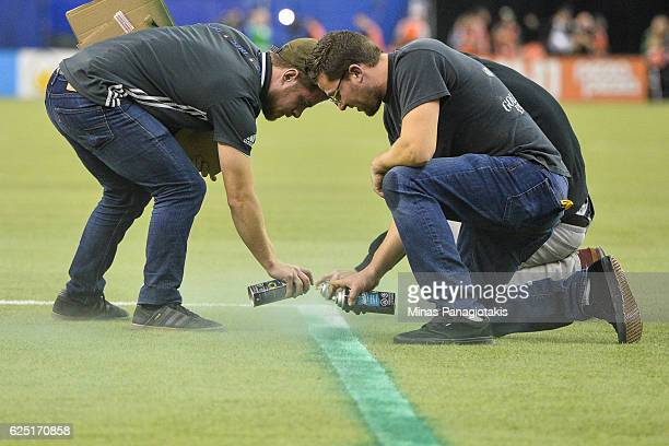 Game delayed between the Montreal Impact and the Toronto FC due to a technical error as field crews repaint the lines during leg one of the MLS...