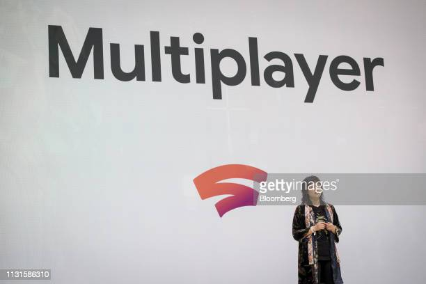 Game Developer Erin HoffmanJohn speaks during a Google event at the Game Developers Conference in San Francisco California US on Tuesday March 19...