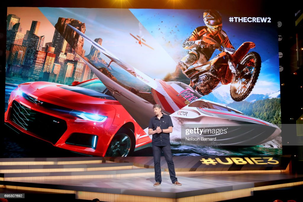 Game Director of 'The Crew 2' Stephane Beley speaks onstage during the Ubisoft E3 2017 conference at Orpheum Theatre on June 12, 2017 in Los Angeles, California.