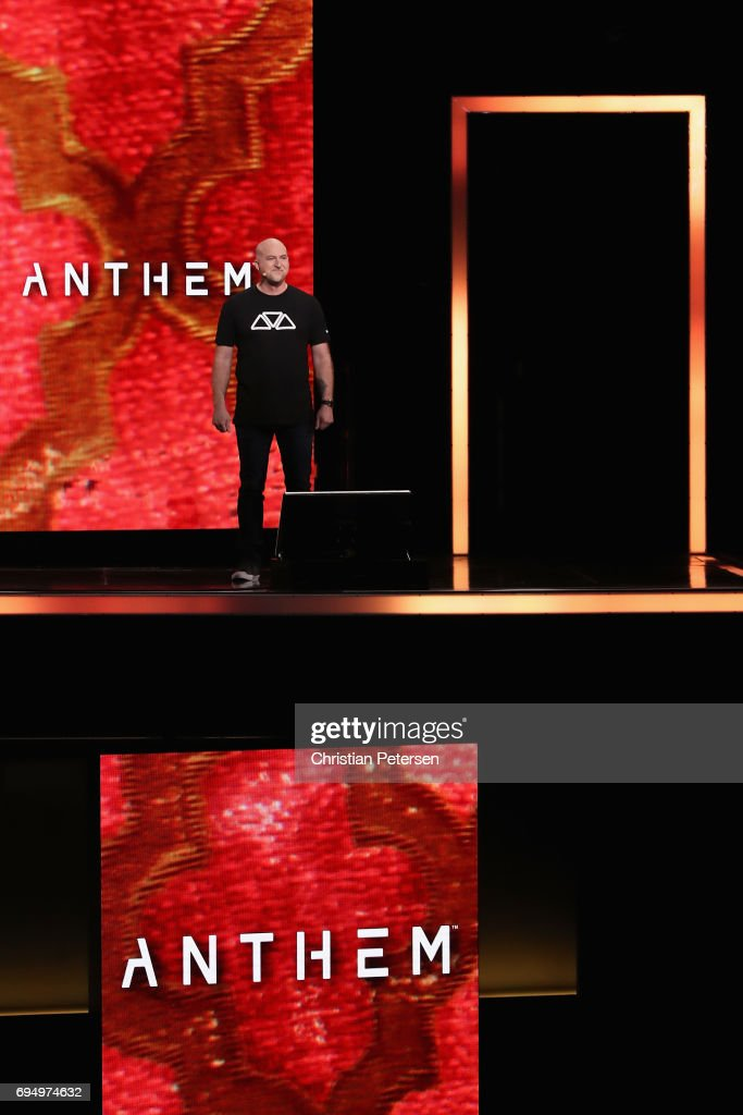 Game Director with Bioware, Jon Warner introduces 'Anthem' during the Microsoft xBox E3 briefing at the Galen Center on June 11, 2017 in Los Angeles, California. The E3 Game Conference begins on Tuesday June 13.