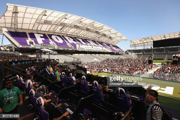 Game enthusiasts and industry personnel attend the Epic Games Fortnite E3 Tournament at the Banc of California Stadium on June 12 2018 in Los Angeles...