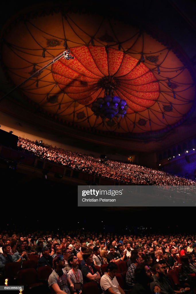Game enthusiasts and industry personnel attend the Sony Playstation E3 conference at the Shrine Auditorium on June 12, 2017 in Los Angeles, California. The E3 Game Conference begins on Tuesday June 13.