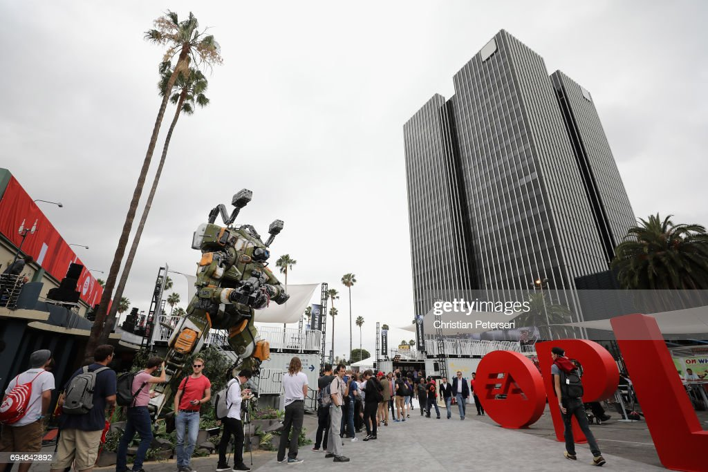 Game enthusiasts and industry personnel line up for the Electronic Arts EA Play event at the Hollywood Palladium on June 10, 2017 in Los Angeles, California. The E3 Game Conference begins on Tuesday June 13.