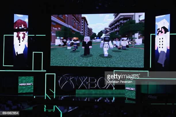 Game footage of 'Minecraft' on the XBox One X is displayed during the Microsoft xBox E3 briefing at the Galen Center on June 11 2017 in Los Angeles...