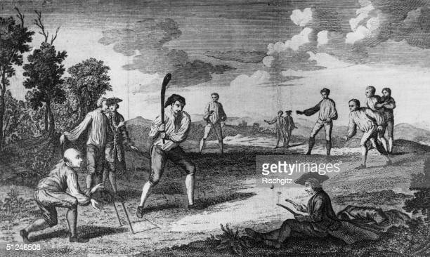 1743 A game of cricket being played on the Artillery Ground in London