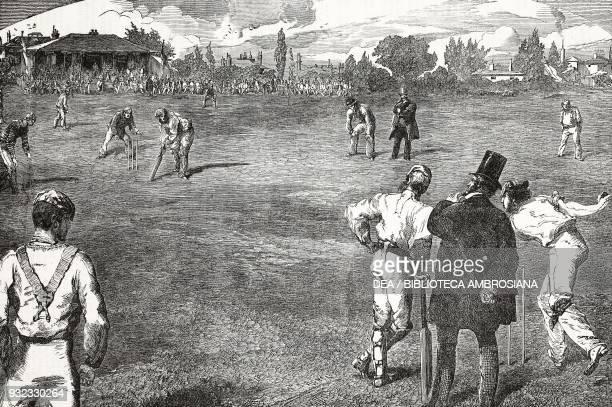 Game of cricket United Kingdom illustration from Il Giornale Illustrato No 12 August 2026 1864