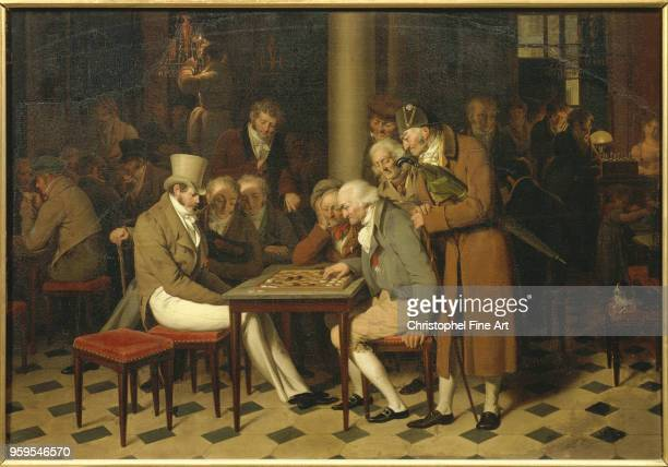 A Game of Draughts at the Cafe Lamblin By Louis Leopold Boilly Louis Leopold Boilly Musee Conde in Chantilly France