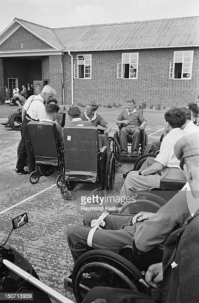 A game of netball at the Ministry of Pensions Spinal Centre at Stoke Mandeville Hospital Buckinghamshire UK 1949 Original Publication Picture Post...