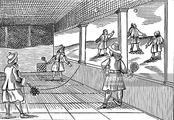 A game of tennis taken from a 1659 English edition of John Amos Comenius Orbis sensualium pictus probably the most widely circulated school textbook...