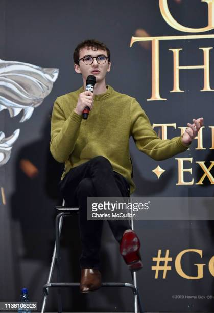 Game of Thrones cast member Isaac Hempstead Wright attends the Game Of Thrones: The Touring Exhibition press conference at Titanic Exhibition Centre...