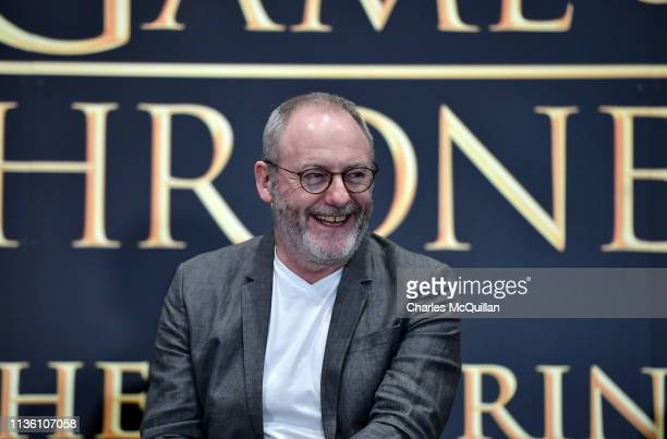 Game of Thrones cast member Liam Cunningham attends the Game Of Thrones: The Touring Exhibition press conference at Titanic Exhibition Centre on...