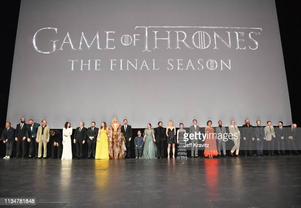 "Game of Thrones"" cast members gather onstage during the ""Game Of Thrones"" Season 8 NY Premiere on April 3, 2019 in New York City."